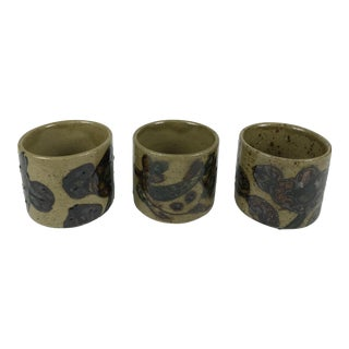Vintage Mid Century Stoneware Cups - Set of 3