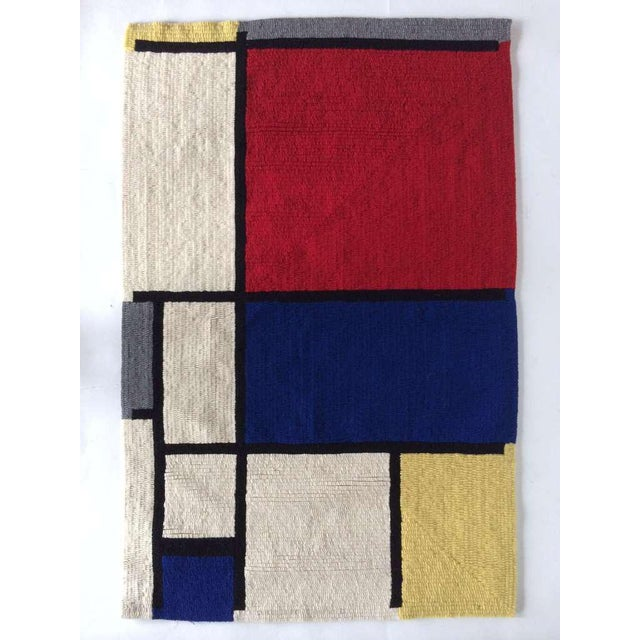 """Louis H.Guidetti Mondrian Hand-Hooked Rug - 3' x 4'6"""" For Sale In Tampa - Image 6 of 7"""