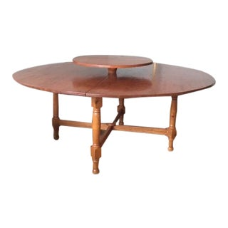 Early American Lazy Susan Dining Table For Sale