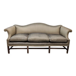 1970s Vintage Charcoal Gray Silk Chippendale Camel Back Sofa For Sale