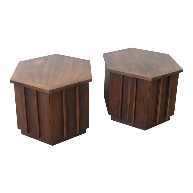 Mid-Century Lane Hexagon Walnut Side Tables - a Pair For Sale