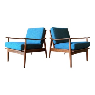 Mid Century Refinished Danish Lounge Chairs with New Cushions - a Pair