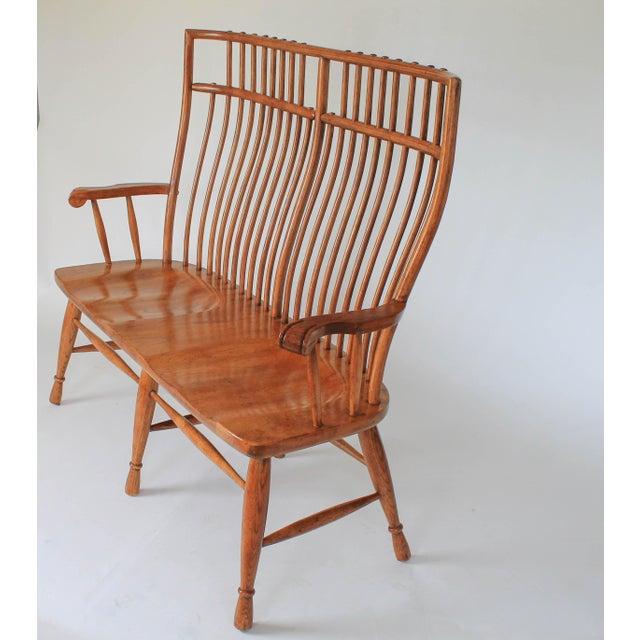 High Back Solid Oak Bench - Image 3 of 11