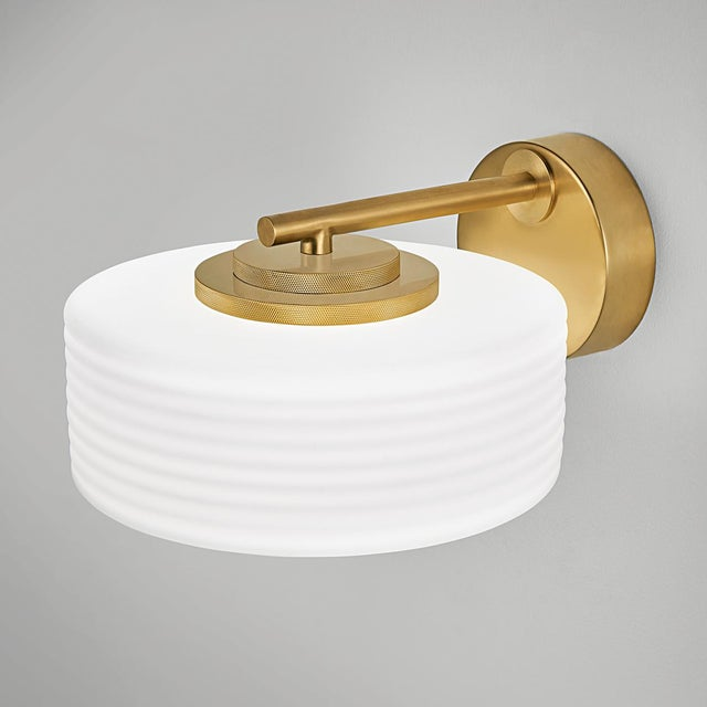Art Deco Capri Wall Light in Brushed Brass With Opal Glass For Sale - Image 3 of 4