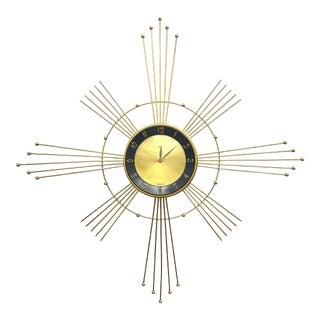 Vintage Luxe Company Brass Sunburst Clock For Sale