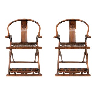 Antique Chinese Qing Dynasty Jiaoyi Horseshoe Back Folding Armchairs- A Pair For Sale