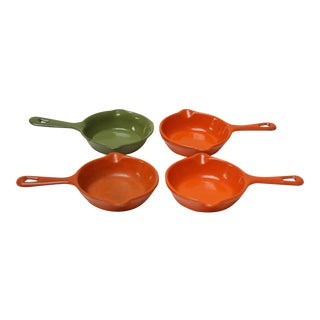 Set of Four Mid-Century Japanese Enamel Coated Cast Iron Mini-Skillets / Butter Warmers For Sale