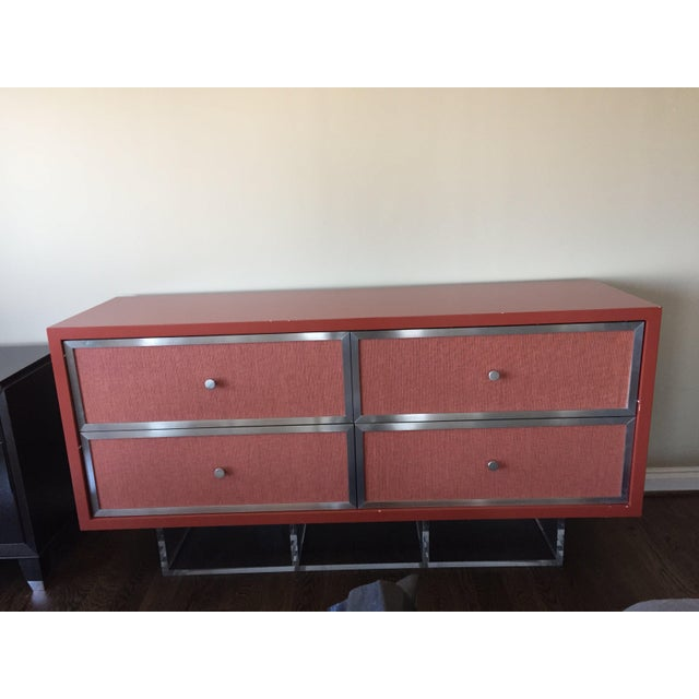 Modern Custom Modern Red Credenza For Sale - Image 3 of 7