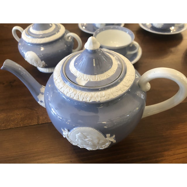 1970s Vintage Musterschultz Cameo Tea Set in Powder Blue and White -Set of 17 For Sale - Image 5 of 13