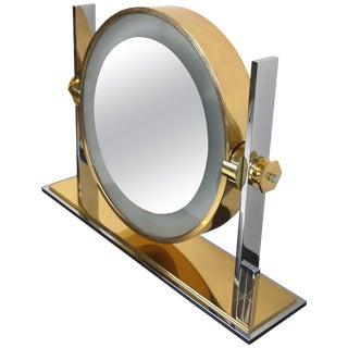 Karl Springer Chrome and Brass Vanity Mirror For Sale