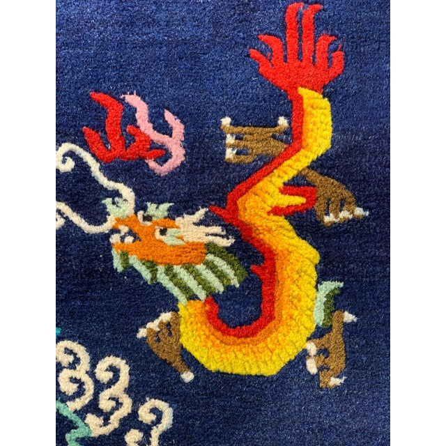 Blue Vintage Chinese Hand Knotted Rugs - A Pair For Sale - Image 8 of 11