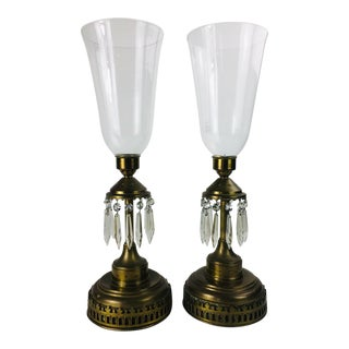 Vintage Brass with Crystal Drops Glass Candle Holders - a Pair For Sale