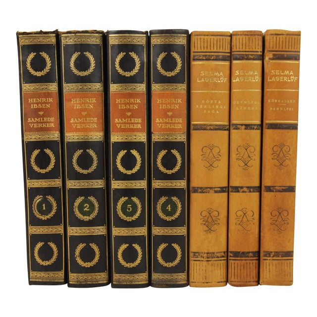 Art Deco Leather-Bound Books - Set of 7 - Image 1 of 4