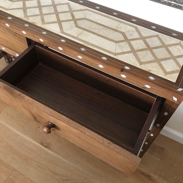 Contemporary Mother of Pearl Inlay Console Table With Marble Top For Sale - Image 9 of 12