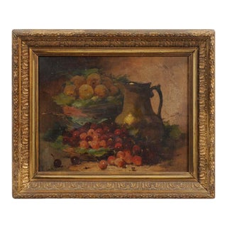 18th Century French Still LIfe Oil Painting, Framed For Sale