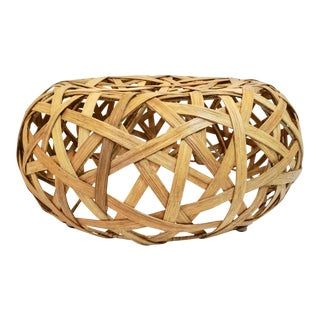 Matta Woven Rattan Low Round Stool For Sale