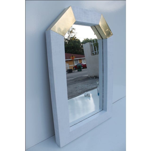 Karl Springer Style Cane and Brass Wall Mirror - Image 6 of 10