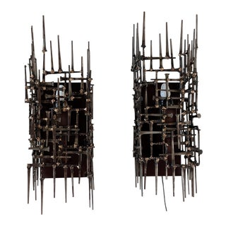 Brutalist Welded Mason Nail and Bronze Sconces - a Pair For Sale