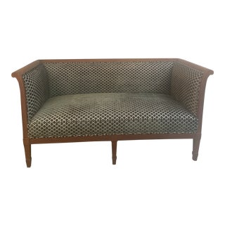 1970s Vintage Newly Upholstered Mahogany Sofa For Sale