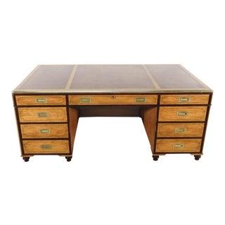 Baker Furniture Company Satinwood Campaign 3-Piece Leather Top Partner's Desk For Sale