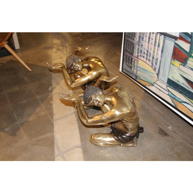 Gold Brass Blackamoor Coffee Table Bases- A Pair For Sale - Image 8 of 8