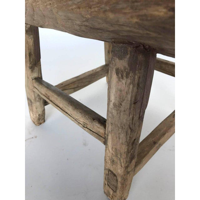 Wood Rustic Japanese Elm Stool or Small Table For Sale - Image 7 of 8