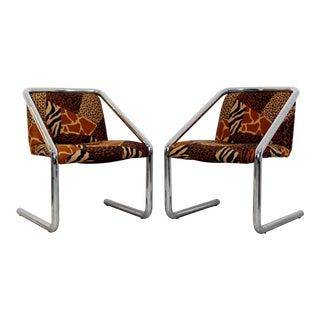 Mid Century Modern Tubular Chrome Cantilever Armchairs- A Pair For Sale