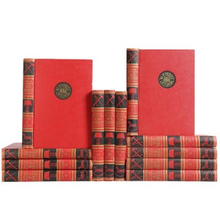 Mid-Century Red & Black Reference Books - Set of 12 For Sale