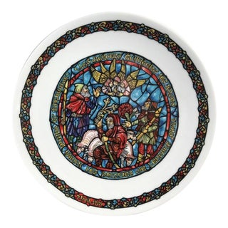 1980s French Limoges Porcelain Decorative Christmas Plate For Sale