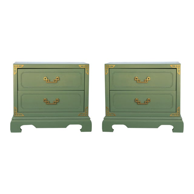 Chinoiserie Campaign Green Nightstands - Pair - Image 1 of 4