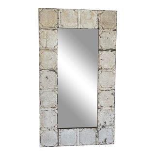 Antique Shabby Chic Galvanized Metal Floor Mirror For Sale
