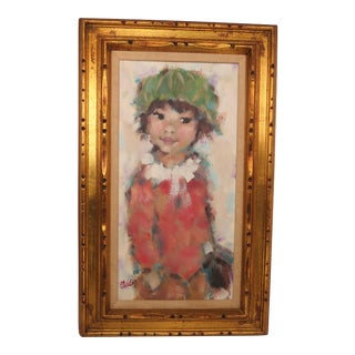 Vintage Mid-Century M. Maleter Young Girl Oil Painting For Sale