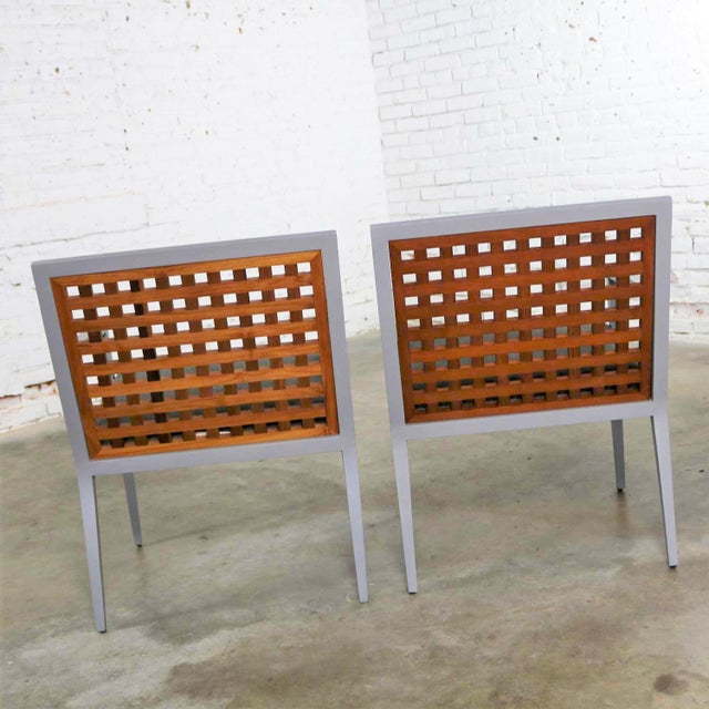 McGuire Pair of Aluminum and Teak Archetype Patio Chairs by Michael Vanderbyl for McGuire For Sale - Image 4 of 13