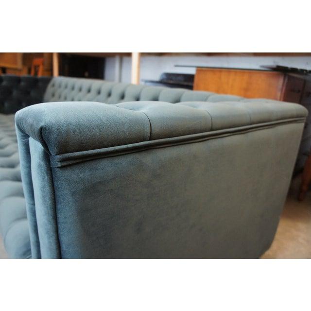 Blue Tufted Modern Velvet Upholstered Sofa For Sale - Image 6 of 13