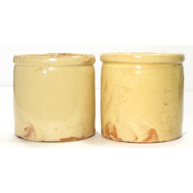 French Yellow Glazed Confiture Pots - A Pair - Image 3 of 4