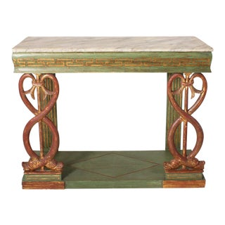 Early 19th Century French Hand Painted Neoclassical Console With Faux Marbre For Sale