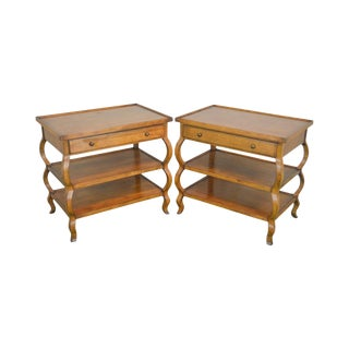 Baker Milling Road 3 Tier Pair of Side Tables or Nightstands W/ Drawer For Sale