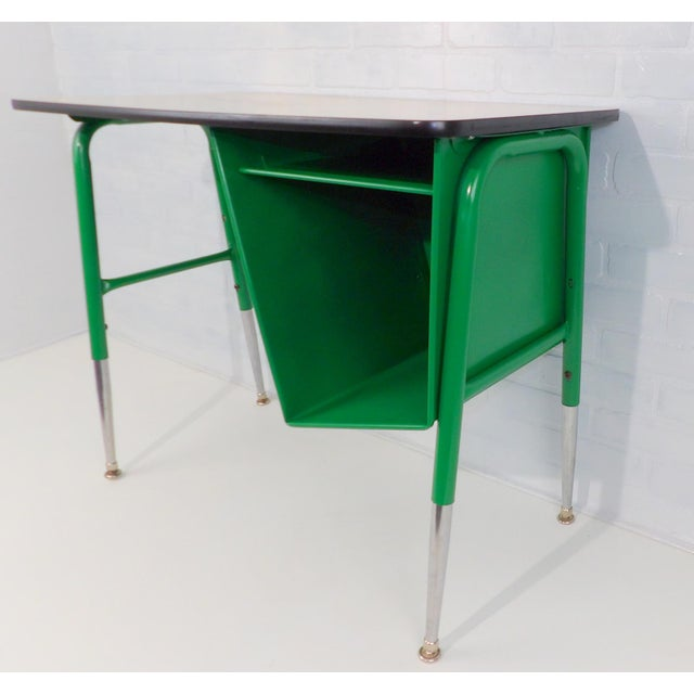 Metal Mid-Century Kelly Green Petite Tanker Office Desk For Sale - Image 7 of 9