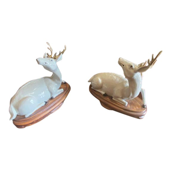 Pair of Vintage Porcelain Deer Figurine For Sale