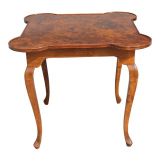 1960s Mid Century Modern Exotic Burl Amboyna Game Table For Sale