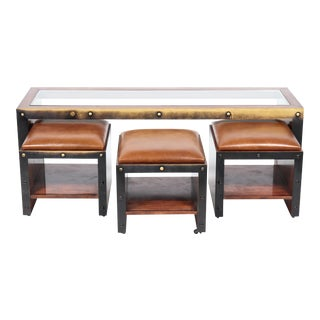 Timothy Oulton Set With Industrial Table & Ottoman Stools - Set of 4 For Sale