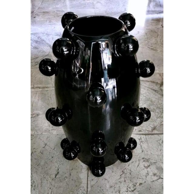 Black Polished Handmade Ceramic Sculpture Vase For Sale - Image 13 of 13