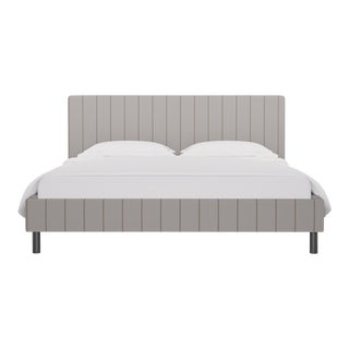California King Tailored Platform Bed in Stripe In Sand For Sale