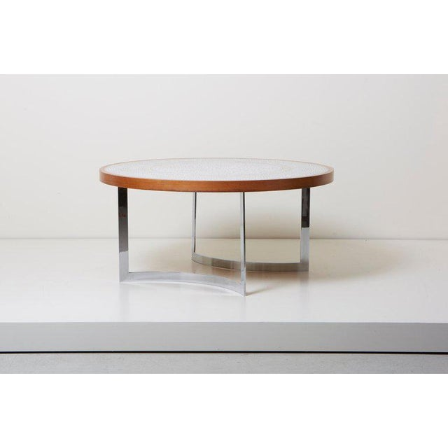 Huge round coffee table designed by the german designer Berthold Müller, Germany, 1967. The table has chrome legs and a...