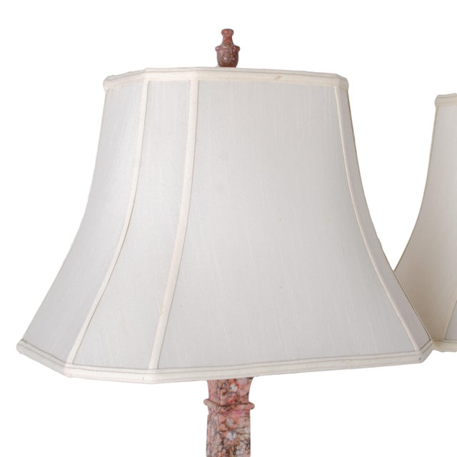 Pink Marble Column Lamps - a Pair For Sale - Image 8 of 11
