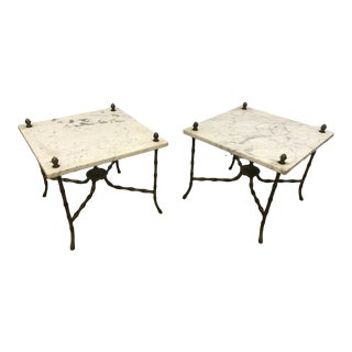 Mid Century Marble Top Faux Bamboo Tables - a Pair For Sale