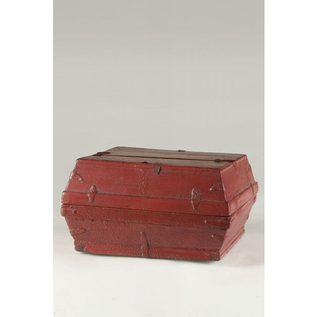 Red lacquer box with a removable top from China c. 1875.
