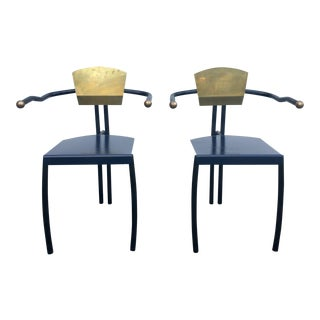 Pair of Metal and Brass Memphis Style Armchairs