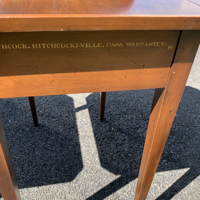 American L. Hitchcock Solid Wood Single Drawer Drop Leaf Side Tables - a Pair For Sale - Image 3 of 12