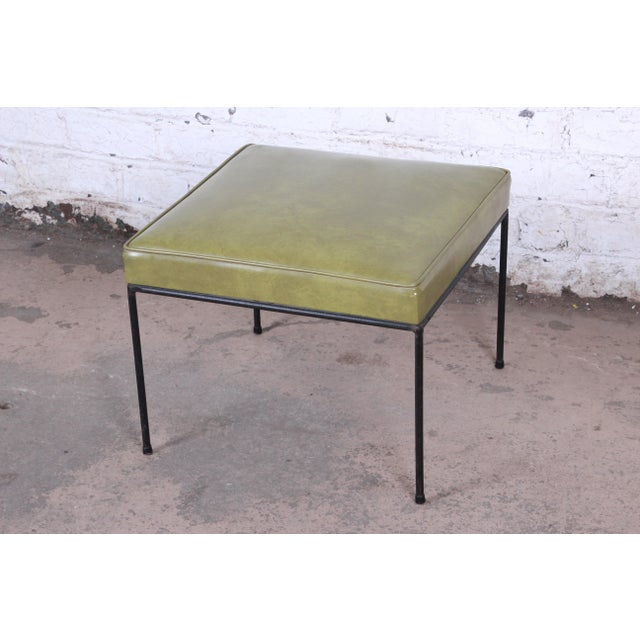 Paul McCobb Green Vinyl Upholstered Iron Stool or Ottoman For Sale - Image 10 of 10